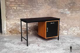 bureau vintage design bureau stratifie fenix noir pieds metal vin bur 003