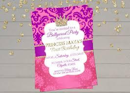 pink birthday invitations bollywood invitation indian princess birthday invitation