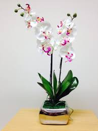 artificial potted plant 56cm large orchid white flowers in a