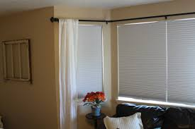 white fabric bay window curtains with black rod and white window interior white fabric bay window curtains with black rod and white window blind on cream