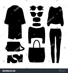 set black silhouette trendy womens clothes stock vector 333416135