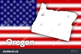 Flag Capital Oregon State Contour Capital City Against Stock Illustration