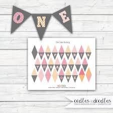 free printable birthday cake banner mini cake bunting pink and orange first birthday cake