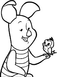 baby piglet and bird coloring page wecoloringpage