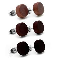 wood stud earrings wooden stud earrings ear ring fakeplugs tunnel piercing