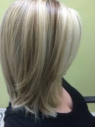 medium length bob hairstyle pictures three shades of blonde foils shoulder length bob cut my hair
