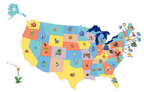 Map The Usa by Map Of The Usa With Pokemon Assigned To Each State Ign Boards