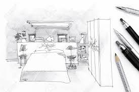 sketch of bedroom with drawing tools on paper background stock