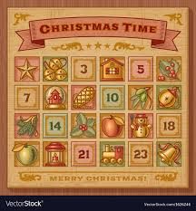 christmas advent calendar vintage christmas advent calendar royalty free vector image