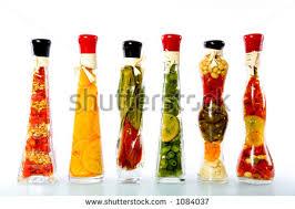 decorative bottles sealed colorful fruits vegetables stock photo