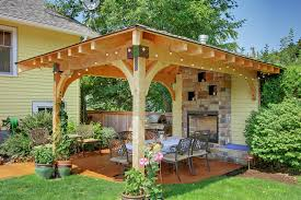 covered patio design patio traditional with yellow wall built in