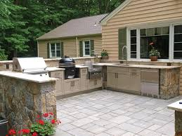 outdoor kitchen with green egg grill houzz