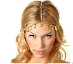 goddess headband vtg deco gold chain goddess leaf festival hair