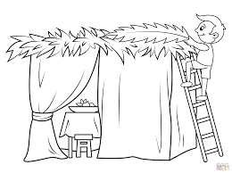 boy builds a sukkah coloring page free printable coloring pages