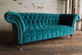 Chesterfield Velvet Sofa Teal Velvet Sofa Monty Fabric Chesterfield In 1
