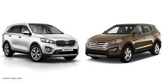 kia sorento vs hyundai santa fe sorento vs santa fe comparison suvs cars special offers