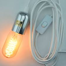 pendant light cord with switch modern metal silver chrome pendant light l cord w braided cloth