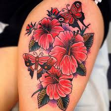 top 50 hibiscus tattoos on thigh in different style