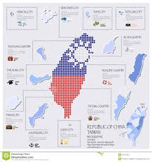 Taiwan Country Flag Dot And Flag Map Of Taiwan Republic Of China Infographic Design