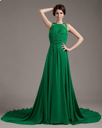 color embroidery chiffon pleated green prom dress 2013