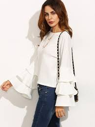 white bell sleeve blouse white neck ruffle sleeve blouse emmacloth fast