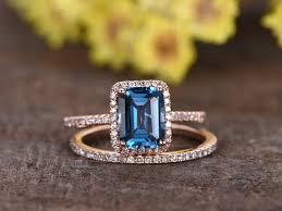 london wedding band 1 4 carat emerald cut london blue topaz wedding set 14k gold