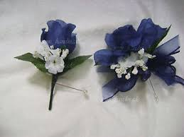 blue corsages for prom navy blue open pin corsage boutonniere wedding prom party
