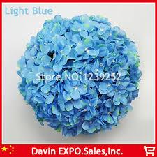 light blue decorative balls new 10 pcs light blue artificial hydrangea silk flowers ball kissing