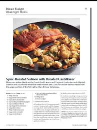 cooking light october 2017 spice roasted salmon with roasted cauliflower from cooking light