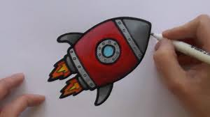 how to paint and colour a cartoon rocketship youtube