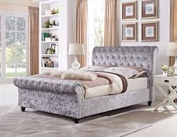 Upholstered Sleigh Bed Astral Crush Velvet Fabric Upholstered Sleigh Bed Frame In Single