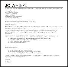 application manager cover letter sample livecareer