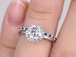 plain engagement ring with diamond wedding band 2pcs moissanite bridal ring set engagement ring white plain gold