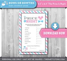 printable baby shower game price is right gender reveal