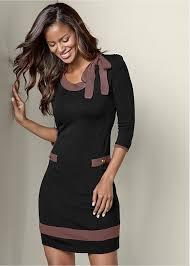 bow detail sweater dress in black multi venus