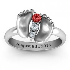 baby silver rings images Sterling silver baby foot birthstone ring jpg