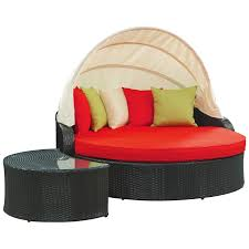 outdoor new majestic black round daybed with sunbrella canopy