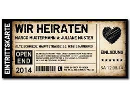 hochzeit einladung karte einladungskarten als ticket geburtstag vintage exklusivedrucksachen