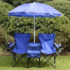 outdoor chair with table attached portable folding picnic set double chair umbrella table blue outdoor
