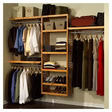 simple bedrom decoration with white closet organizers systems