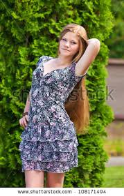 nice teenager summer dress park stock photo 108171248
