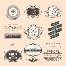 wedding badges with ornaments vintage style vector free