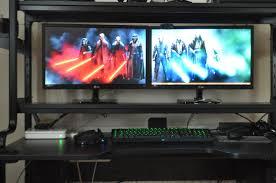 Gaming Desk For 3 Monitors by Cool Computer Setups And Gaming Setups