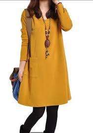 dress design yellow plain pocket design plus size neck casual above knee