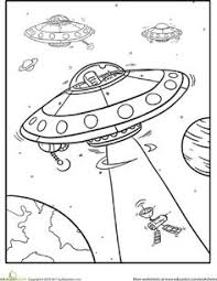 free kids colouring depicting aliens outer space kids