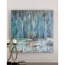 Canvas Home Store by Abstract Wall Art Wayfair Blue Waterfall Original Painting On