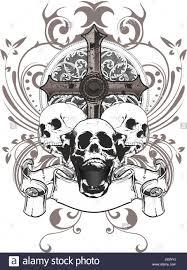 cross skull skeleton banner ornaments floral danger