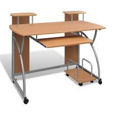 bureau pour pc fixe table de bureau brun pour ordinateur avec étagère 120 x 60 cm