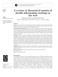 Seeking On A Review Of Theoretical Models Of Health Information Seeking On
