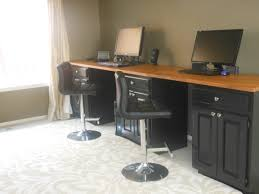 ikea countertop standing computer lab desk made from old painted kitchen cabinets